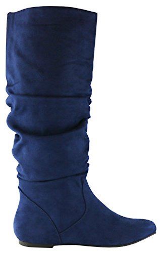 Slouchy Imsu Select Cambridge Toe Women's High Boot Flat Round Knee Navy nxnaArWp