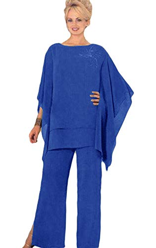 Mother Pants Suits Plus Size Chiffon Evening Formal Wear Mother Groom Trousers Suits Blue