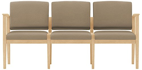 Lesro Amherst Wood 3 Seat Sofa in Natural Finish, Castillo Quarry