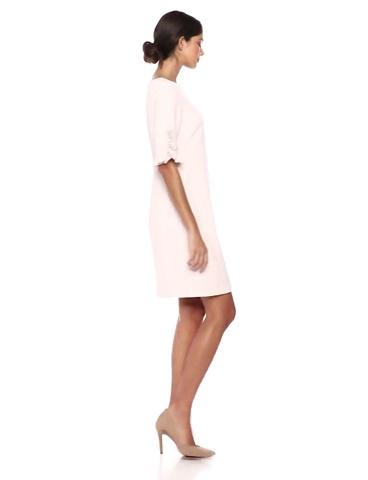 Karl Lagerfeld Paris Women's Ruffle Pearl Trim Sleeve Crepe Dress