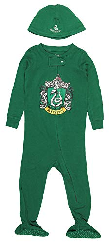 Slytherin Baby Clothes (INTIMO Harry Potter Baby Pajamas Set Footed Jammies with Beanie Hogwarts House Slytherin (18)