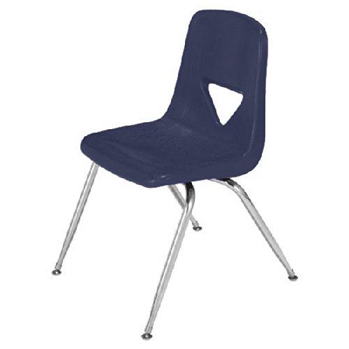 (Scholar Craft SC125 Navy Polyethylene Shell 4-Leg Chair, 15-1/2