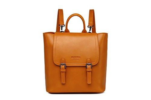 MAMBO DE OTROS MUNDOS mochilas mujer casual efecto piel color gris metalizado, mochilas de vestir vintage y de moda Mostaza