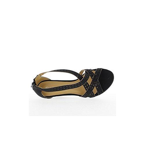 Sandales compensées noires à talon de 8cm
