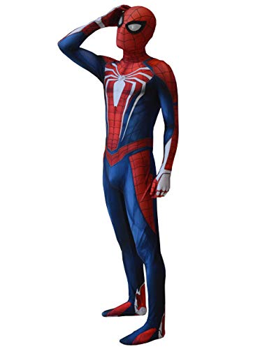Spider Game PS4 Insomniac Spiderman Costume 3D Print Spandex Halloween Spiderman Cosplay Zentai Suit Adult/Kids (Adult-L) Navy Blue]()