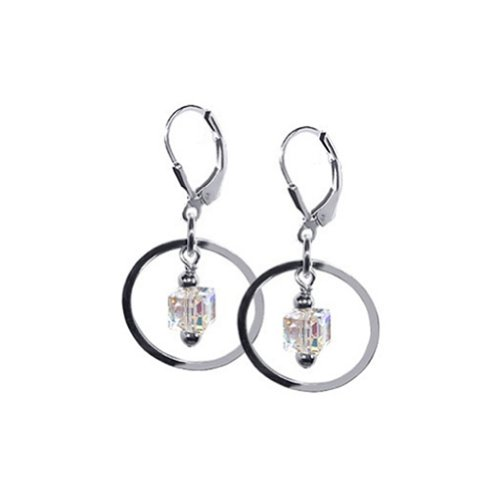 Circle Drop Leverback Earrings (Gem Avenue 925 Sterling Silver Made with Swarovski Elements Clear Cube Crystal Dangling on a Circle Handmade Leverback Drop Earrings)