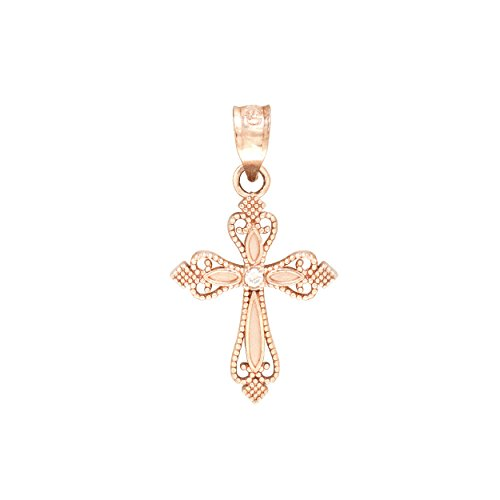 Rose Cross Necklace Pendant Diamond