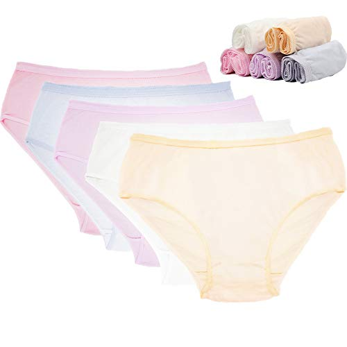 (Starly Women's Disposable 100% Pure Cotton Underwear Travel Panties Granny Briefs White/Macarons (10Pk) (Multicolor, Large))