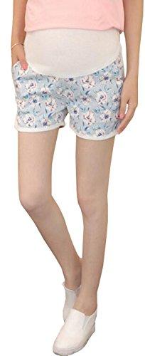 おもちゃスーツ対角線Foucome パンツ マタニティ ショートパンツ 大きいサイズ デザイン レディース ゆったり 夏 カジュアル 3分丈 産前産後 パンツ 花柄 ライトブルー XL