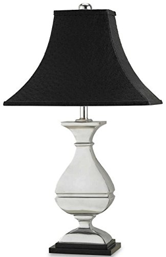 Currey and Company 6258 Hester - One Light Portable Table Lamp, Gold/Black/White Stripes/Satin Brass Finish with Off White Shantung Shade