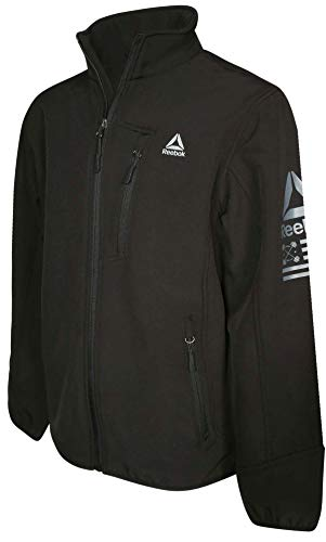 (Reebok Boys Soft Shell Fleece Lined Full Zip Jacket, Black Zip, Size 8')
