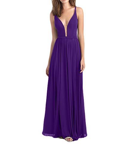 Braut Chiffon Festlichkleider Linie Partykleider Lang A Dunkel Elegant Lila Promkleider Brautjungfernkleider La mia Abendkleider wqZI55