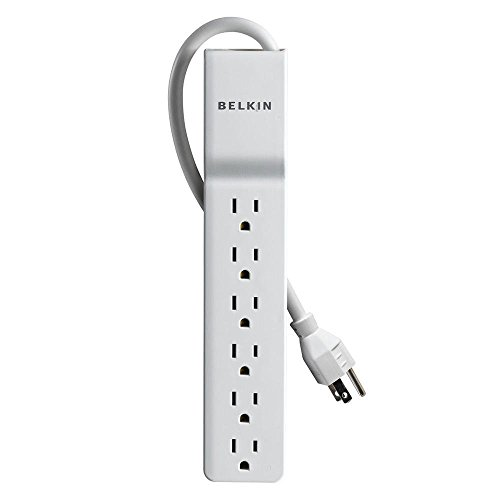 Belkin 6-Outlet Home and Office Power Strip Surge Protector with 4-Foot Power Cord, 720 Joules (BE106000-04)