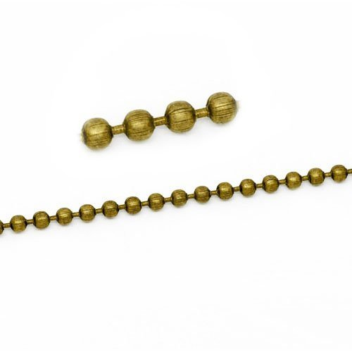 10 Metre Antique Bronze Metal Alloy 2.4mm Ball Chain - (CH1705) - Charming Beads Something Crafty Ltd