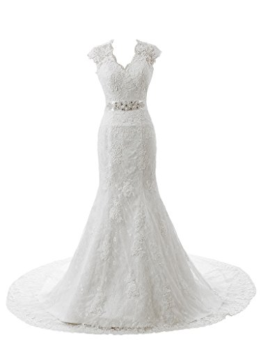 Ubridal Real Pictures Embroidery Lace Mermaid Court Wedding Dresses Bridal Gowns white 8 (Wedding Dress Made In China White)