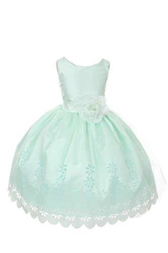 Price comparison product image AkiDress Sleeveless Shantung and Mesh Floral Taffeta and Tulle Embroidered Dress Mint 2-12