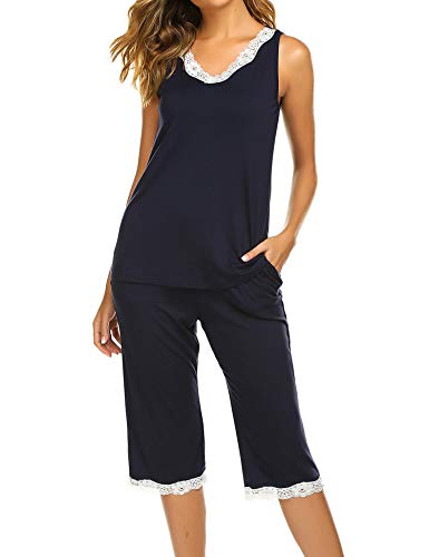 (Hotouch Pajamas Sleepwear Women's Soft Loungewear Pjs Set Tops with Capri Pants Navy Blue S)