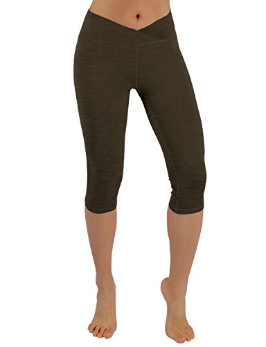 ODODOS Power Flex Yoga Capris Tummy Control Workout Non See-Through Pants with Pocket,Olive,Medium - Edge Knit Stitch