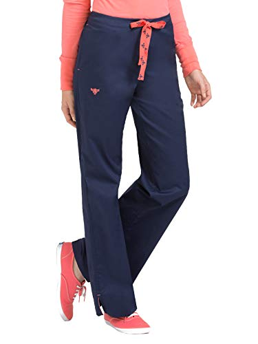 Med Couture Signature Drawstring Scrub Pants for Women, New Navy/Apricot, X-Small Petite
