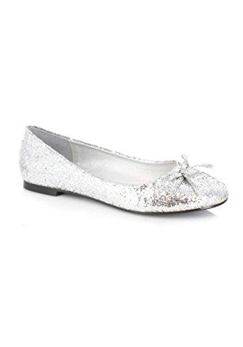 Scarpe Ellie Da Donna Glitter Flat Con Fiocco (glitter Argento; 10)