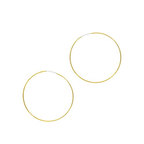Columbus 14K Gold Plated Thin Endless Hoop Earrings - Lightweight Wire Hoops (Gold, 50)