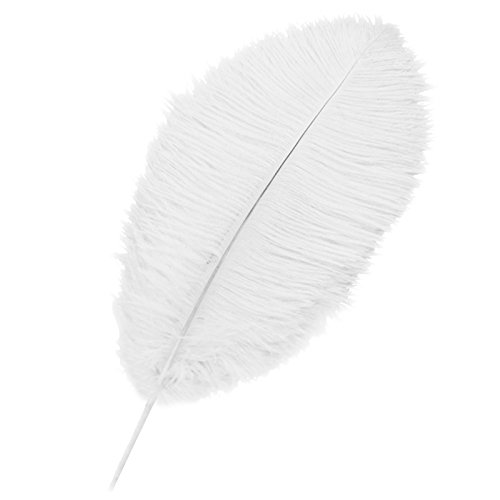 Ostrich Feathers - SODIAL(R)10 pcs Natural Pretty Ostrich Feathers 12-14 inch (30-35cm) for Wedding Centerpieces Home Decoration Party Stage Accessories white ()
