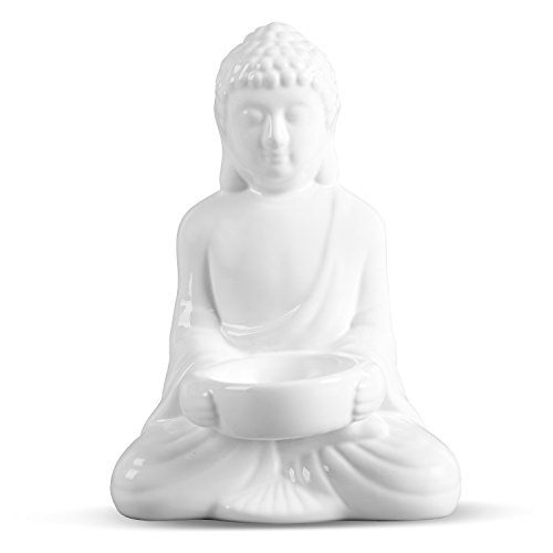 FORLONG FL6003 Ceramic Buddha Statue/Figurine Candle Holder(White)