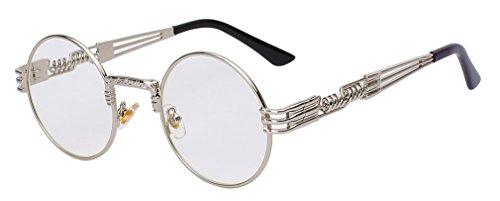 en lunettes Haoling rétro Silver hommes métal Lunettes Lens steampunk de soleil Clear lunettes de soleil vintage revêtement rond W q0wrt0R