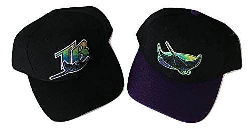 Genuine Merchandise 2 Pc Collection Adult Vintage 90's Tampa Bay Devil Rays MLB Snapback Hat by Sports Specialties Corp ()