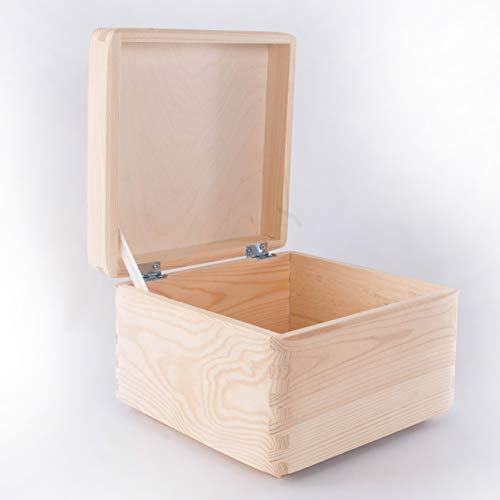 Large Wooden Storage Memory Box With Lid Pinewood Toy Chest Keepsake Trunk