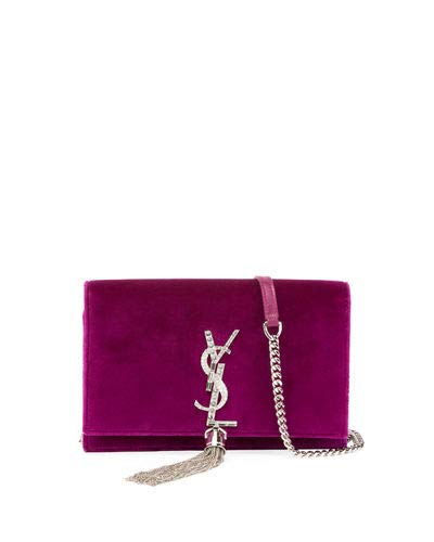 302f904f9a54 Saint Laurent Kate Velvet Crystal-Monogram YSL Tassel Wallet on Chain made  in Italy (