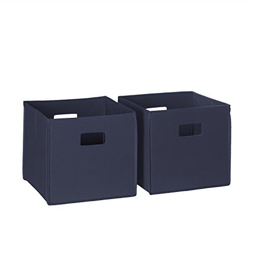 RiverRidge 02-057 2-Piece Folding Storage Bin, Navy (Folding Set Storage Bins)
