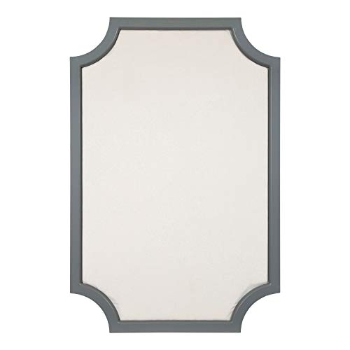 - Kate and Laurel Hogan Wood Framed Fabric Pinboard with Scallop Corners, 24 x 36 Inches, Gray and White