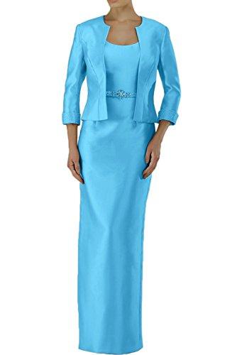 Jugendweihe Abendkleider Brautmutterkleider Langes Kleider Etuikleider Marie Braut La Langarm mit Jaket Blau qOY1x