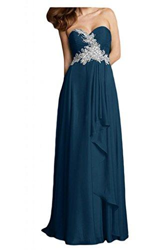 Vestido de fiesta de la bola Toscana novia elegante en forma de corazón de la gasa de los vestidos de noche largo partido de los vestidos de dama de honor Tinte Blau