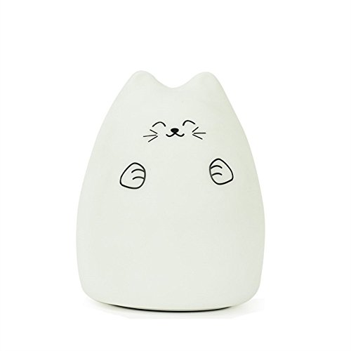 Mercu Cute Kitty LED Light, Children Night Light Kids Silicone Cat Lamp 7-Color Flashing USB Rechargeable Lighting, Warm White Light (Naughty Cat)