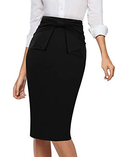 VFSHOW Womens Pleated Bow High Waist Slim Work Office Business Pencil Skirt 865 BLK XL (Pleated Skirt Detail)
