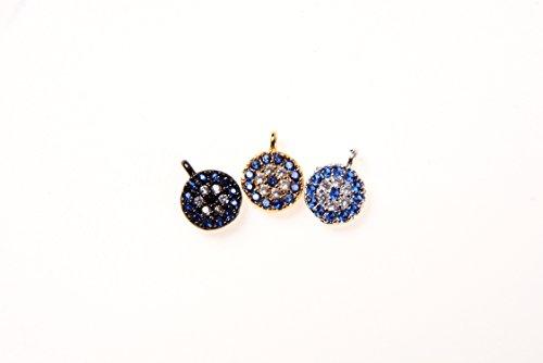 Goodbead 2pcs Clear & Sapphire Blue Cubic Zirconia CZ Dainty Round Evil Eye Mini Charm| DIY Necklace, Choker, Bracelet, Anklet | ()