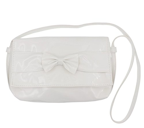 C&L Girl's PU Imitation Patent Leather Shoulder Strap Purse White
