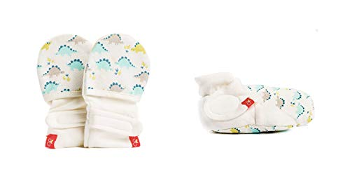 (Baby Booties & Mittens Bundle, Adjustable Soft & Secure (0-3 Months, Dino))