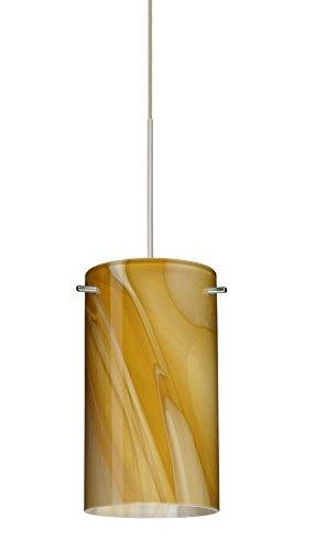Besa Lighting 1XT-4404HN-SN 1X50W Gy6.35 Stilo 7 Pendant with Honey Glass, Satin Nickel Finish