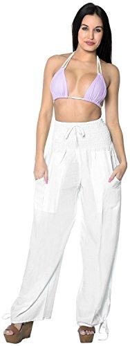 rayon-plain-drawstring-tie-lounge-yoga-pajama-beachwear-women-casual-pant-white-spring-summer-2017