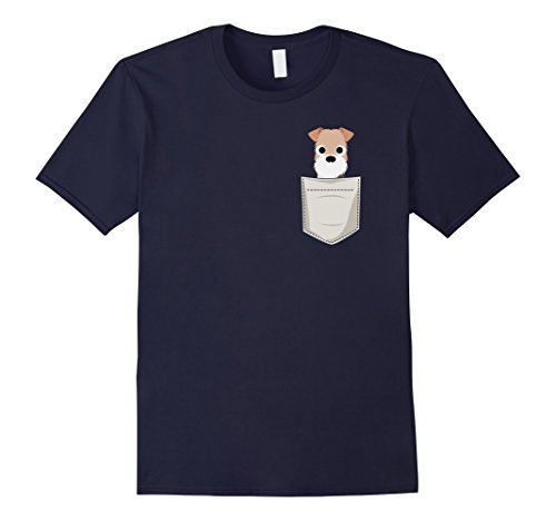 Mens Wire Fox Terrier in a Pocket T-Shirt Large Navy