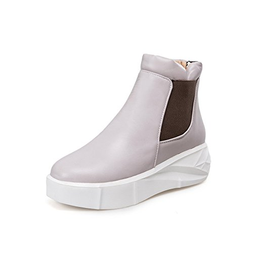 Soft Allhqfashion Gray Kitten Boots top Closed Pull on Heels Material Toe Low Women's Round 5x4rwRgxaq