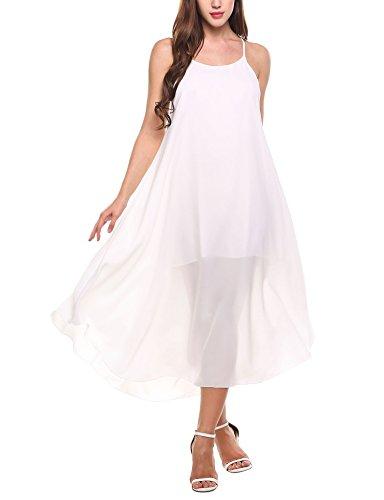 Zeagoo Women Fashion Halter Sleeveless Solid Party Beach Chiffon Long Maxi Sun Dress (Large, White)