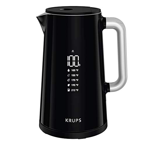 KRUPS BW801852 Smart Temp Digital Kettle Full Stainless Interior and Safety Off, 1.7-Liter, Black