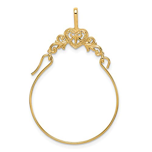 Mireval 14k Yellow Gold Polished Filigree Heart Charm Holder (22 x 35 mm)