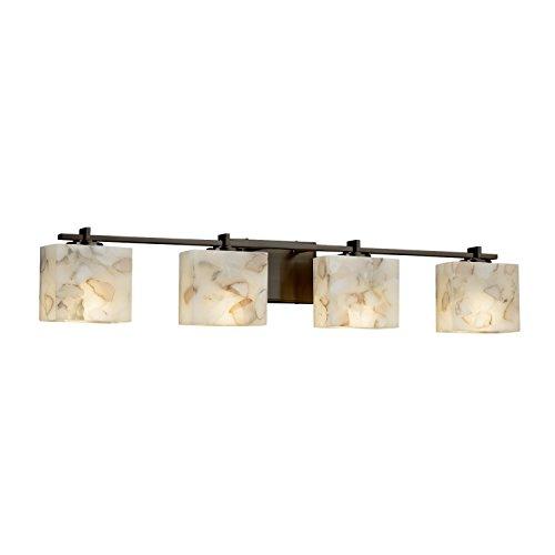 Alabaster Rocks! - Era 4-Light Bath Bar - Rectangle Alabaster Rocks Shade - Dark Bronze Finish - LED