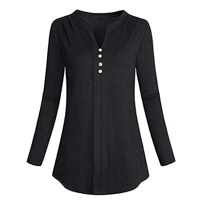 Solid Button Down Tops, Duseedik Womens Fashion Plus Size Long Sleeve Botton V-Neck T-Shirt