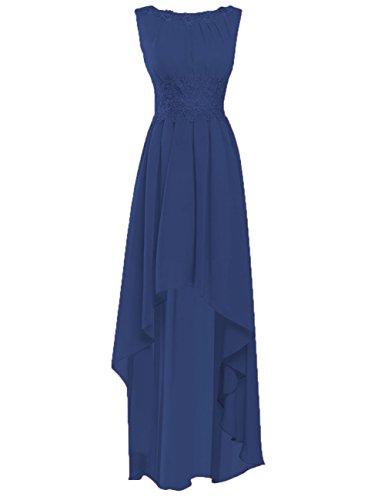 Mousseline De Soie De Haute Cdress Robes Bas De Demoiselle D'honneur Robes De Soirée En Applique Bal Fête Officielle Bleu Royal